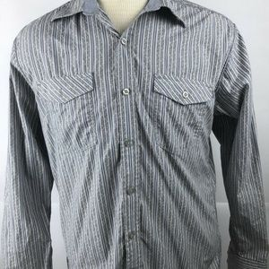 Gray Striped Long Sleeve Button Front Shirt Size M